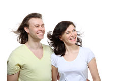 Portrait of couple in love looking to side Stock Image