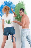 Portrait of couple painting at home Stock Photography