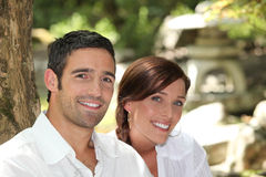 Portrait of a couple. In a park Royalty Free Stock Images