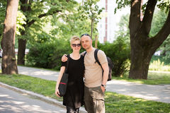 Portrait of a couple in the park stock photography
