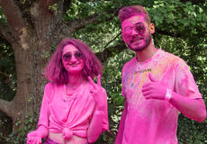 Portrait of couple from pink color team at Colore Mulhouse 2017. MULHOUSE - France - 4 June 2017 - portrait of couple from pink color team at Colore Mulhouse royalty free stock photography