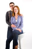 Portrait of couple posing in studio Royalty Free Stock Photo