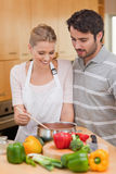 Portrait of a couple preparing a sauce Royalty Free Stock Image
