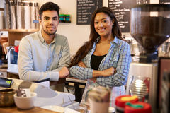 Portrait Of Couple Running Coffee Shop Together Stock Images