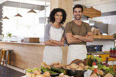 Portrait Of Couple Running Organic Food Store Together Royalty Free Stock Images