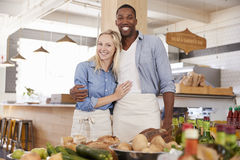 Portrait Of Couple Running Organic Food Store Together Stock Photography