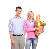 Portrait of a couple after shopping Stock Image