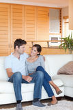 Portrait of a couple sitting on a sofa Royalty Free Stock Image