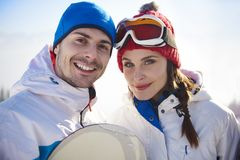 Friends with snowboards Royalty Free Stock Photos