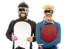 Couple with snowboarders Royalty Free Stock Photography