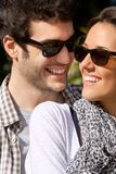 Portrait of couple with sunglasses. Stock Photo