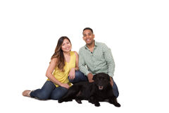 Portrait of a couple and their dog. White Stock Image
