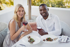 Portrait of couple toasting their wine glasses Royalty Free Stock Photo