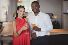 Portrait of couple toasting wine glasses Stock Images