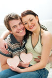 Portrait of couple with Valentines hearts Royalty Free Stock Photos