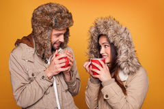 Portrait of a couple wearing a winter coats Royalty Free Stock Photo