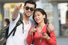 Portrait couples of asian younger man and woman backpacker trave Stock Photo