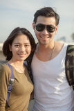 Portrait couples of younger asian man and woman toothy smile wit Stock Image