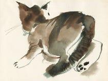 Portrait courant pelucheux de chaton d'aquarelle Chat tigré blotched tiré par la main dans le style de vintage illustration libre de droits