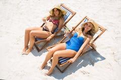 Portrait courbe des amis féminins détendant sur la chaise de plate-forme Photos stock