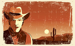 Portrait of cowboy man.Vector Royalty Free Stock Photography