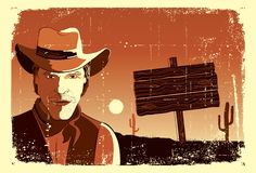 Portrait of cowboy man.Vector Royalty Free Stock Images