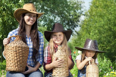 Portrait of cowgirls Stock Images