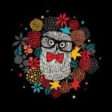 Portrait créatif de hibou de hippie en verres Illustration de vecteur avec les éléments floraux Photographie stock