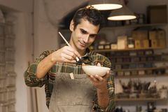 Craftman in workshop. Portrait of craftman in workshop Royalty Free Stock Images