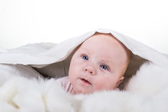Portrait of a crawling baby on the bed Stock Photo