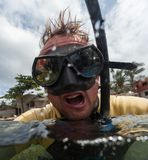 Portrait of the crazy diver royalty free stock photography