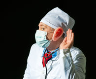 Portrait of crazy doctor Royalty Free Stock Photography