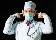 Portrait of crazy doctor Royalty Free Stock Photo