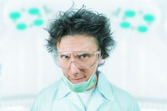 Portrait of a crazy man scientist Stock Image