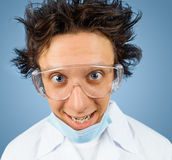 Portrait of a crazy scientist Stock Photo
