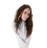 Portrait of a crazy woman in a straitjacket Royalty Free Stock Photo