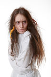 Portrait of a crazy woman in a straitjacket Royalty Free Stock Photos