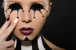 Portrait with creative black and white makeup Royalty Free Stock Photos