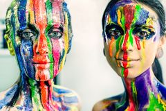 Portrait of creative color make-up Stock Photography