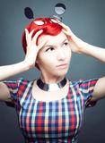 Portrait of a creative girl. Studio photo of a young red-haired girl Stock Photography