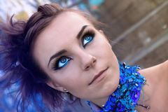 Portrait of creative woman with blue make up Stock Photos