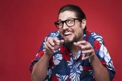 Portrait of a creepy young man in Hawaiian shirt Royalty Free Stock Photos