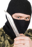 Portrait of the criminal in a black mask Royalty Free Stock Image