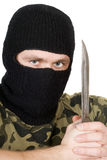 Portrait of the criminal with a knife Royalty Free Stock Photography
