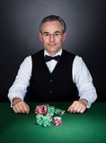 Portrait of a croupier Royalty Free Stock Images