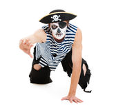 Portrait of cruel pirate. Isolated on white background Stock Image