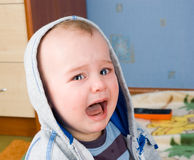 Portrait of crying baby stock photography