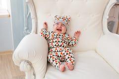 Portrait of crying baby boy Stock Image