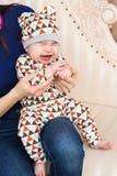 Portrait of crying baby boy Stock Photo
