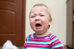 Portrait of crying baby girl Stock Photography